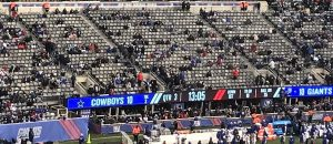 "Pics of empty NFL stadiums across America, where fans have renamed the league of crybaby millionaires to ""FU-NFL"""